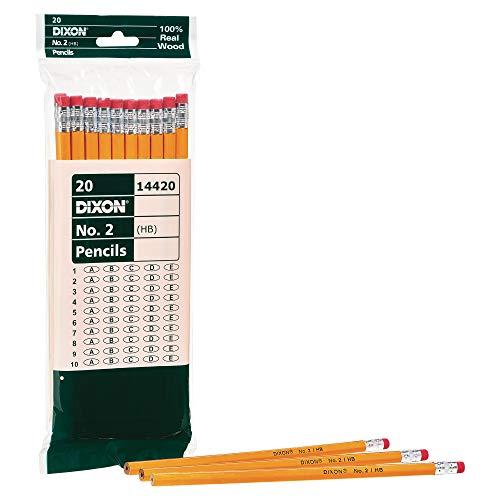Dixon No. 2 Yellow Pencils, Wood-Cased, Black Core, 20-Pack (14420)