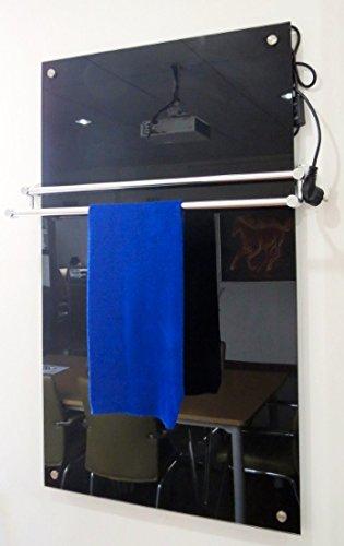 Glas Fern Infrarotheizung mit Thermostat schwarz 300 Watt 70 x 60 x 1cm inkl.Wandmontage 98% Hitzeeffizienz 100.000Std Lebensdauer