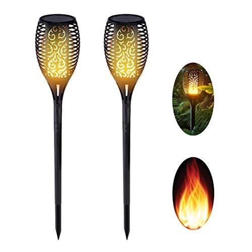 Spardar Luz Solar antorcha Jardín Parpadeante Luz de Llama 96 Led, Luz solar LED para jardín al aire libre, flash solar al aire libre con efecto de llama, decorar fiesta en la terraza del jardín (2)