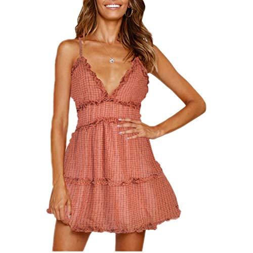 LWX Damen Chiffon Kleid Strandkleid Blumen Druckkleid Bandeaukleid Floral Sommerkleid Spaghettiträger Kleid,Pink,M