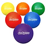"""GoSports 5"""" Inflatable Dodgeball 6 Pack - No Sting Balls - Includes Ball Pump & Mesh Bag, Multicolor (DB-5-RUBBER-01)"""