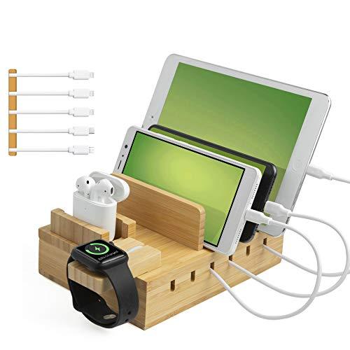 TechDot Handy USB Ladestation Bambus Ladestation Mehrere Geräte 5 Port USB Multi Ladestation Bamboo für Handys Smartphones Tablets Holz Ladestation