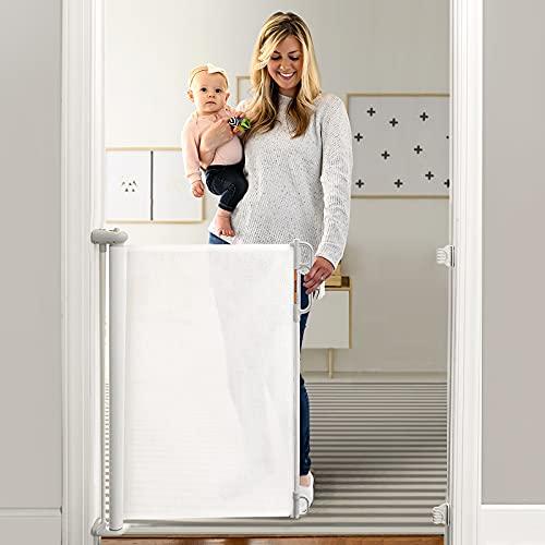Momcozy Treppenschutzgitter Ausziehbare für Babys, 0-140 cm, 83 cm Hoch Baby Absperrgitter Treppenschutzrollo, Geräuschlose, Einhändig Bedienbar, Geeignet für Treppen/Türen/Innen & Außen, Weiß