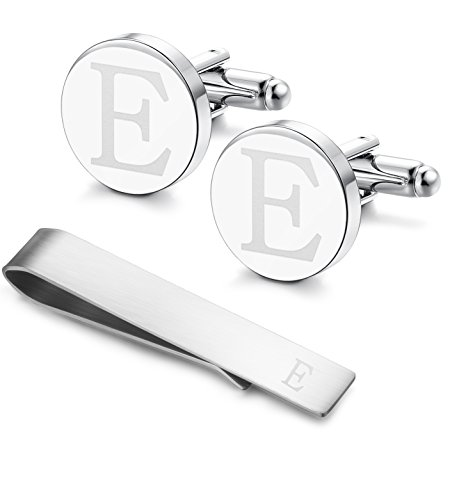 Classic Engraved Initial Cufflinks and Tie Clip Bar Set Alphabet Letter Formal Business Wedding Shirts E