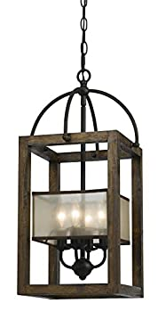 B00BL2YZ7A Cal Lighting FX-3536/4 Mission Wood/Metal Four Light Transitional Style Chandelier Dark Bronze