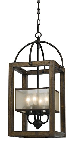 Cal Lighting FX-3536/4 Mission Wood/Metal Four Light Transitional Style Chandelier, 23 inches, Dark Bronze