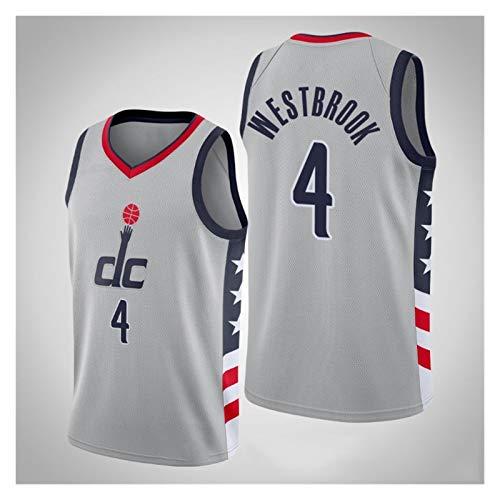LIPENG NBA Washington Wizards # 4 Russell Westbrook Baloncesto Uniformes, Primavera y Verano Tops sin Mangas Chalecos Deportivos al Aire Libre, (Color : Gray, Size : S)