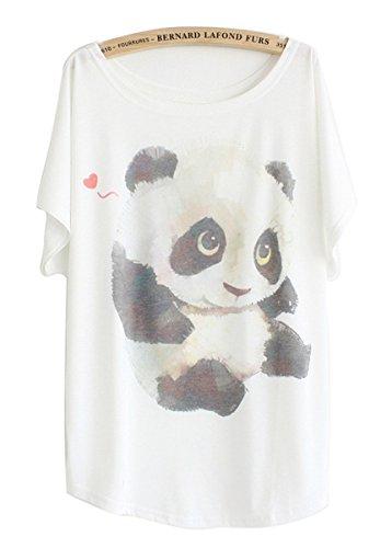 Luna et Margarita T-Shirt Weiß Frau Fledermaus Ärmel Rundhals Muster Baumwollmischung Cartoon-Panda Muster Größe 2XL für 42 44