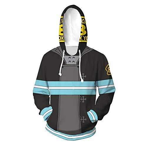 Unsiex Fire Force Sudadera con Estampado 3D Sudadera con cordón Pullover Disfraz Cosplay (Color : A, Size : S)