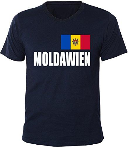 Mister Merchandise Herren V-Ausschnitt T-Shirt Moldawien Fahne Flag, V-Neck, Größe: L, Farbe: Navy