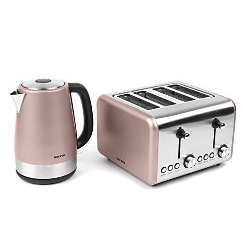 Salter COMBO-3652 Metallics Polaris Jug Kettle & 4-Slice Toaster Set, Champagne