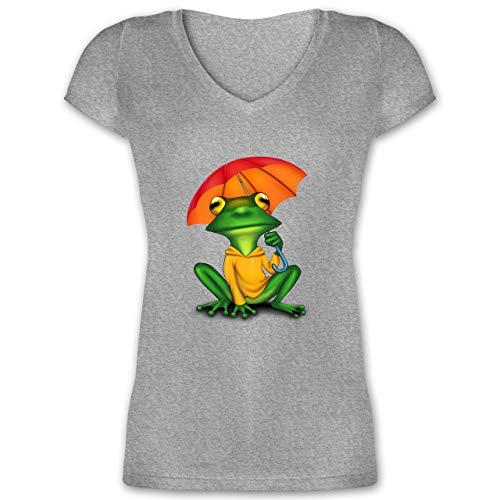 Sonstige Tiere - Wetterfrosch - XXL - Grau meliert - Geschenk - XO1525 - Damen T-Shirt mit V-Ausschnitt