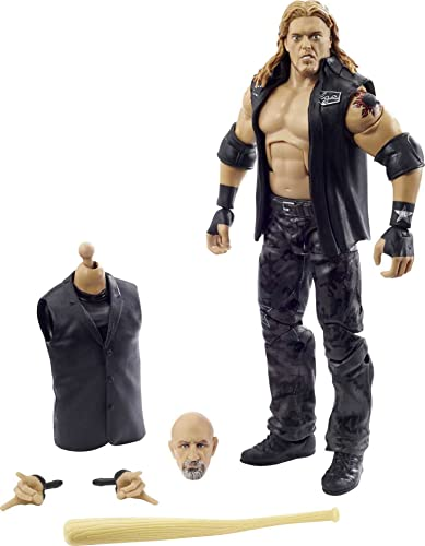 WWE Wrestlemania 37 Elite Collection Edge Action Figure with Entrance VestBat and Paul Ellering and Rocco BuildAFigure Pieces6 in Posable Collectible Gift Fans Ages 8 Years Old and Up