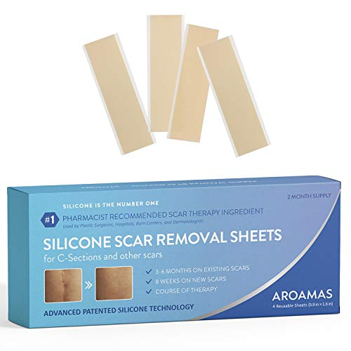 "Aroamas Professional Silicone Scar Removal Sheets for Scars Caused by C-Section, Surgery, Burn, Keloid, Acne, and more, Soft Adhesive Fabric Strips, Drug-Free, 5.7'×1.57"", 4 Reusable pcs (2 Month Supp"