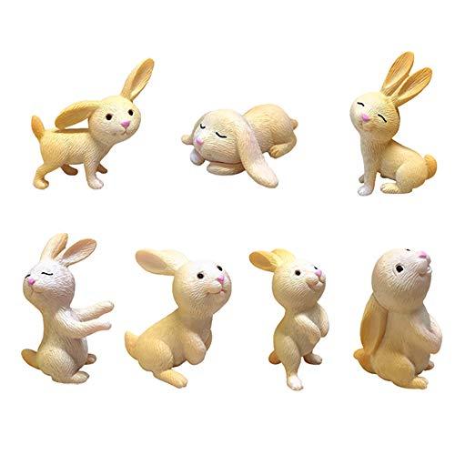 KUKIFUN Set of 7pcs Rabbit Figures toys, Bunny Cake Toppers, Animal Toys set Cupcake Topper. Rabbit Fairy Garden Mini Figurines Playset for Christmas, kids Birthday Gift and party Supplies