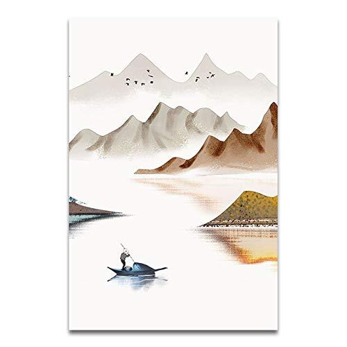 QVQIU Nueva Pintura de Paisaje China Estilo Abstracto Lienzo Pintura Art Print Poster Imagen Pared Sala de Estar Decoración del hogar Sin Marco A4 21x30cm
