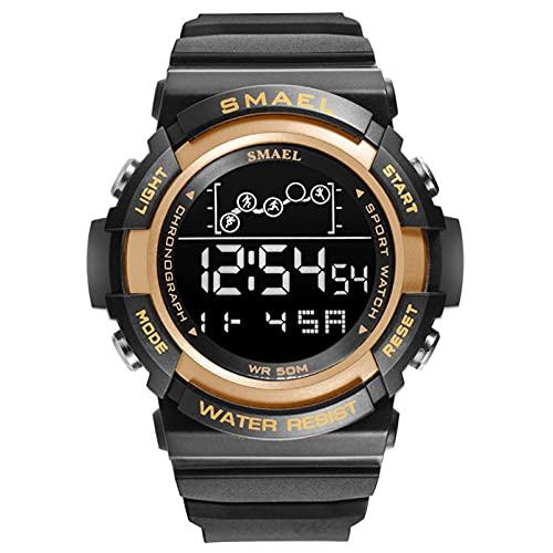 JTTM Reloj Deportivo Reloj Digital Reloj Relojes De Pulsera para Hombre A Prueba De Agua Reloj Despertador LED Relojes del Ejército para Hombre,Rose Gold