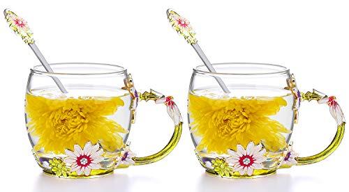 COAWG Taza Grande de Vidrio Esmaltado,Crisantemo Cristales de Cristal Claro Tazas de Té y Café con Mango de Flores Regalo para Abuelas Madres, Maestros,Amigo Cumpleaños Navidad San Valentín 330ml-2Pcs