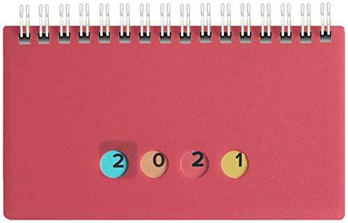 Schreibtischkal. Mini Protect 2021 14,5x9cm, 128 S, 1 Wo.=2 S. quer (pink, A6)
