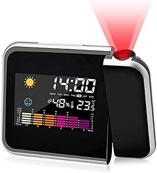 RANJIMA Despertador con proyección, despertador con proyección LED, despertador digital, carga USB, iluminación de pantalla LCD, proyección de 180°, indicador de temperatura, higrómetro, color negro