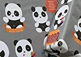 eVincE 10 Panda Gift Wrapping Paper | Fun Facts for Baby, Kids and Children, Animal Birthday Party, Xmas Gifts | Wrappers Gifting Sheets Large Size 70x50 cms Recyclable