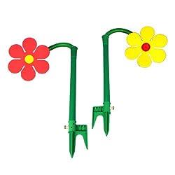 2 Funflower Sprinklerblumen Rasensprenger rot und gelb
