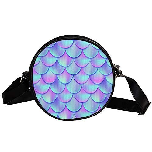 Round Crossbody Bag Small Handbag Ladies Fashion Shoulder Bags Messenger Bag Canvas Bag Waist Bag Accessories for Women - Fish Scales Dreamy Purple Blue Color Mermaid