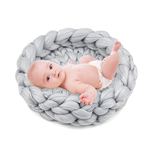 Decdeal Baby Fotografie Requisiten Korb Neugeborenen Foto Props Gestrickte Decke 15,7 Zoll Durchmesser