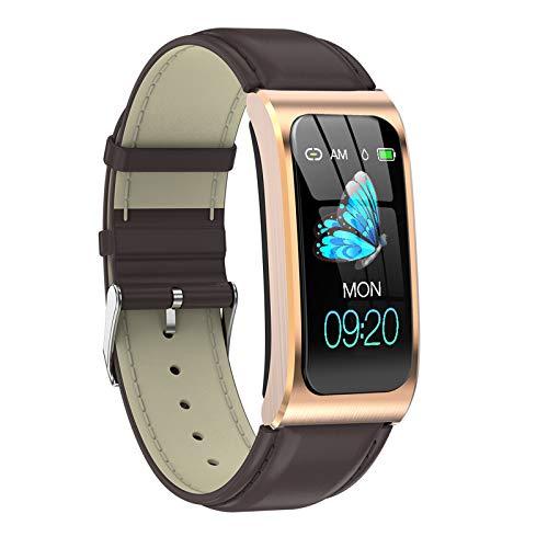 FMSBSC Reloj Inteligente Smartwatch para Android iOS, Pulsómetros Monitor De Sueño Presión Arterial Calorías Fitness Tracker para Mujeres Hombres,Brown a