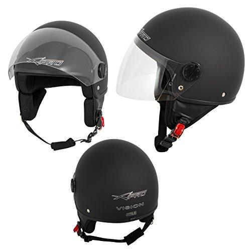 A-Pro Motorradhelm Motorrad Roller Jet Helm Demi Mit Viser Matt Schwarz S