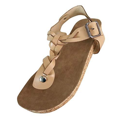 Damen Sandalen Flach Fußbett Schuhe Pantoletten Elegant Zehentrenner Plateauschuhe Bequeme Kork Flip Flops Sommerschuhe (EU:39, Beige)