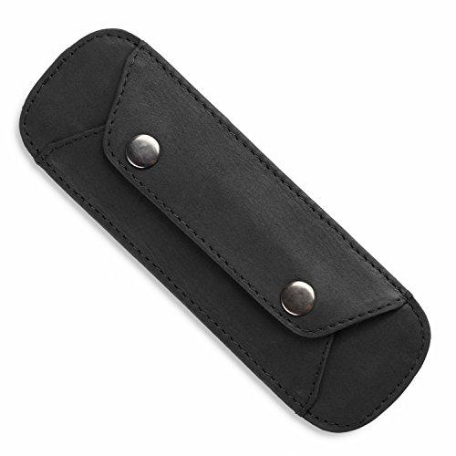 LEABAGS Premium Schulterpolster I Schulterpolster aus echtem Büffel-Leder I Vintage Look I Schulterriemen für Taschen I Leder Schulterpolster mit Antirutsch-Auflage I 18x6cm (Schwarz)