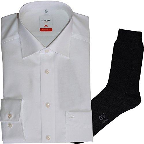 OLYMP Hemd Luxor Modern Fit - weiß, Langarm, Kent Kragen + 1 Paar hochwertige Socken, B&le