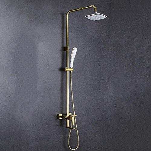 BANANAJOY Oro blanco Dibujo de cobre alambre de metal de cuarto de baño fijada La palanca de elevación 3 Función Sistema de ducha de mano sobrealimentación Con plaza de pulverización superior grifo he