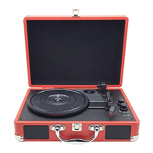 WGHH Lettore Record della Valigia Portatile Bluetooth a 3 velocità Vintage con Altoparlanti incorporati Audio Giradischi