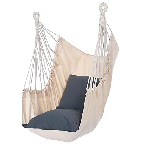 Hangmat Stoel Hangende Touw Schommelstoel, Schommelstoel Met Brede Zitting voor Buiten Binnen Tuin Slaapkamer Patio Veranda - MAX 330 Lbs (Color : Beige-Gray)