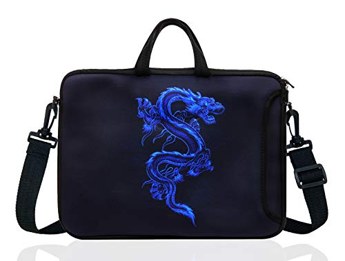 15-Inch to 15.6-Inch Neoprene Laptop Shoulder Messenger Bag Case Sleeve For 14 14.1 15 15.6' Inch Acer/Asus/Dell/Lenovo/Thinkpad/HP/Macbook Pro/Air (Blue Dragon)
