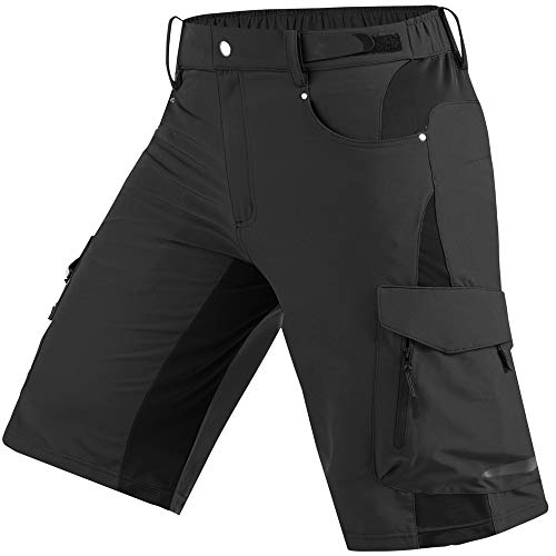 Cycorld Mens Mountain Bike Biking Shorts, Bicycle MTB Shorts, Loose Fit Cycling Baggy Lightweight Pants with Zip Pockets Black
