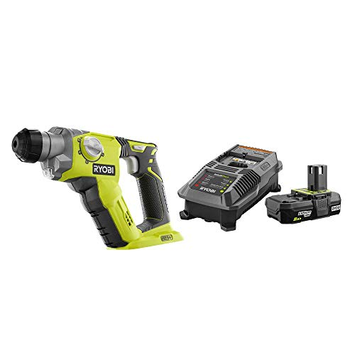 RYOBI P222-P163 18-Volt ONE+ Lithium-Ion Cordless 1/2 in. SDS-Plus Rotary Hammer Drill with 2.0 Ah Battery and Charger Kit