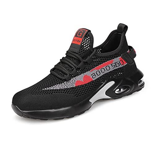 Aingrirn Zapatos de Seguridad Hombre Mujer, Punta de Acero Zapatos Ligero Respirable Calzado de Trabajo Construcción Botas de Seguridad (Color : Black, Size : 37 EU)