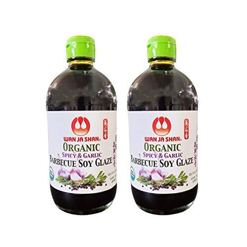 Wan Ja Shan Organic Spicy & Garlic Barbecue Soy Glaze (2 Pack, Total of 30fl.oz)