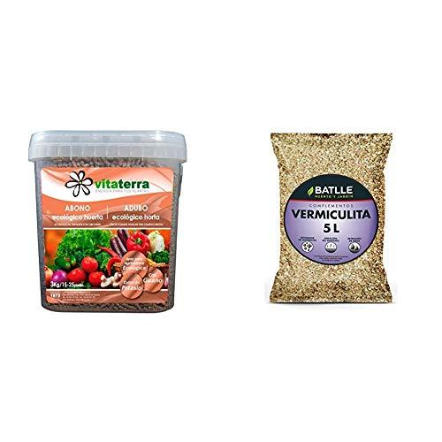 Vitaterra Guano Abono Ecológico para Huerto 3 kg, 16130 + Sustratos - Sustrato Vermiculita 5L - Batlle