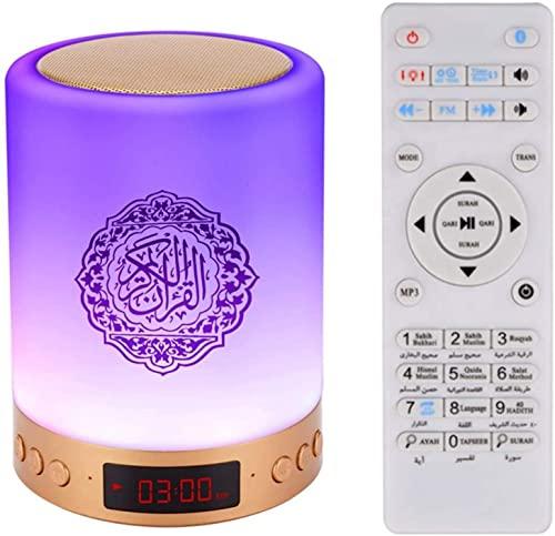 Lámpara de altavoz táctil Corán, radio portátil inalámbrico Bluetooth Mp3 Reproductor de radio, luz blanca cálida lámpara de cabecera LED de estado de ánimo para niños luz nocturna