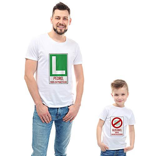 Calledelregalo Regalo Personalizable para Padres e Hijos: Pack de Dos Camisetas 'Padre Novato' Personalizadas con Sus Nombres