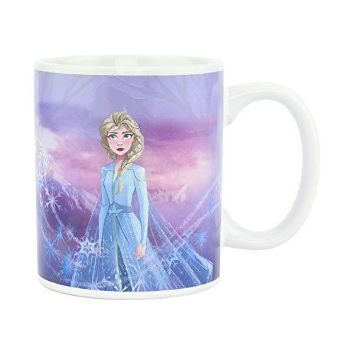 Disney Frozen II Thermoeffekt Tasse Eiskönigin Elsa & Anna bedruckt, 100 % Karamik, Fassungsvermögen ca. 300 ml, in Geschenkkarton.