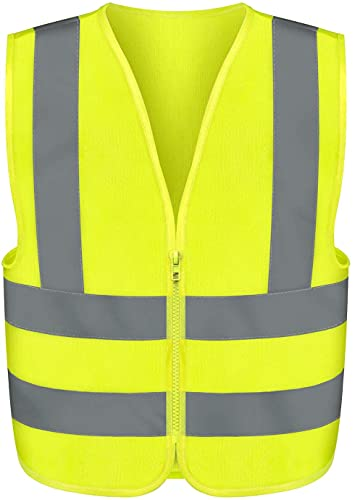 NEIKO 53940A High Visibility Safety Vest with Reflective Strips | Size Medium | Neon Yellow Color | Zipper Front | For Emergency, Construction and Safety Use