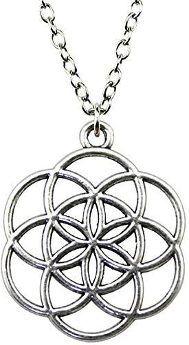 MNMXW Antike Silberne Farbe 42x35mm Die Blume des LebensDer Samen des Lebens Anhänger Halskette für Frauen Vintage Schmuck