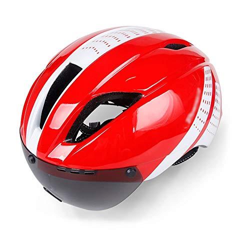 JIAGU Cascos para Bicicletas para Adultos Camino de la montaña de la Bici de los Hombres y Las Mujeres al Aire Libre Casco de equitación Integrado con los anteojos del Casco (Color : Red, Size : L)