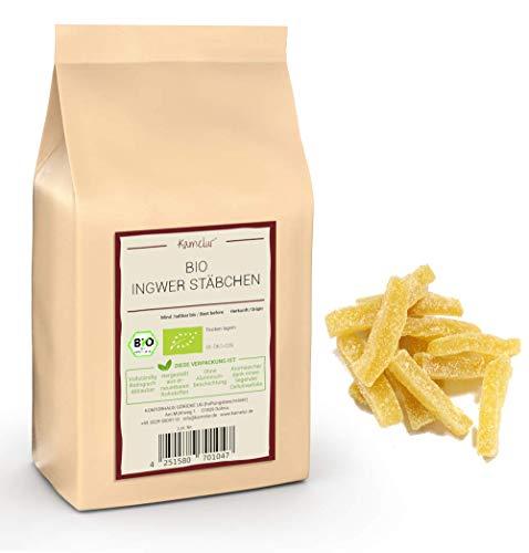 1kg de bâtonnets de gingembre BIO doux - Bâtonnets de gingembre confit de qualité bio supérieure, sans sulfites