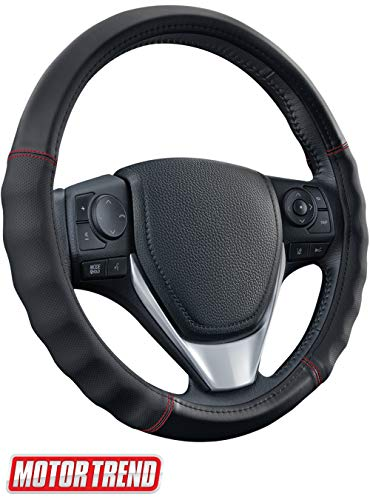 Motor Trend SW-810 Black with Grooves Soft Touch Leather Steering Wheel Cover with Advanced Traction Universal Fit for Standard Sizes 14.5 15 15.5 inches